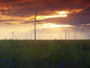 Wind Turbines at Sunset, Kavarna Wind Farm, Kavarna, Bulgaria, Europe by Dallas & John Heaton