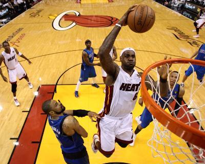 Dallas Mavericks v Miami Heat - Game One, Miami, FL - MAY 31: LeBron James and Tyson Chandler-Mike Ehrmann-Photo