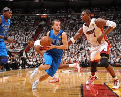 Dallas Mavericks v Miami Heat - Game Two, Miami, FL - JUNE 2: J.J. Barea and Chris Bosh-Jesse D. Garrabrant-Photo