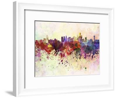 Dallas Skyline in Watercolor Background-paulrommer-Framed Art Print
