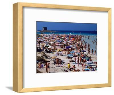 Crowds in Spiaggia Di Pelosa, Stintino, Sardinia, Italy