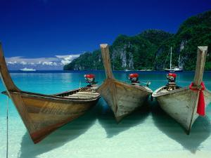 Longtail Boats at Ao Lo Dalam, Ko Phi-Phi Don, Krabi, Thailand by Dallas Stribley