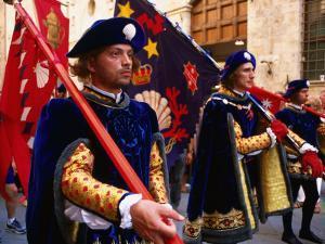 Men in Costume, Il Palio Parade, Siena, Italy by Dallas Stribley