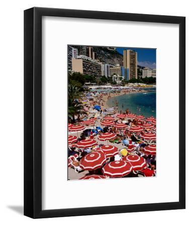 Overhead of Red Sun Umbrellas at Larvotto Beach on Busy Summer's Day, Monte Carlo, Monaco