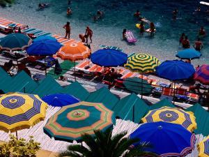 Overhead of Umbrellas at Private Bathing Area of Marine Piccola Beach, Capri, Italy by Dallas Stribley