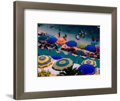 Overhead of Umbrellas at Private Bathing Area of Marine Piccola Beach, Capri, Italy