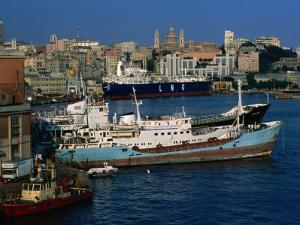 Ships in Port, Genova, Liguria, Italy by Dallas Stribley
