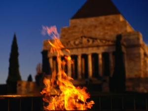 The Eternal Flame at the Shrine of Remembrance, Melbourne, Victoria, Australia by Dallas Stribley