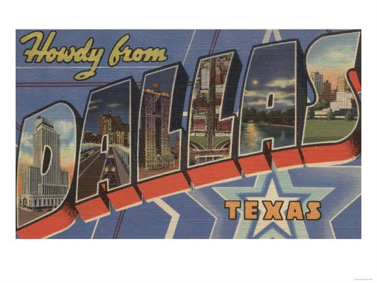 Dallas, Texas - Howdy From-Lantern Press-Art Print