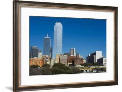 Dallas Texas Skyline at Sunset of Modern Skyscrapers and Expressway-Bill Bachmann-Framed Photographic Print