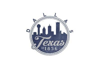 Dallas, Texas - Skyline Seal (Blue)-Lantern Press-Art Print