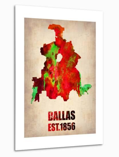 Dallas Watercolor Map-NaxArt-Metal Print