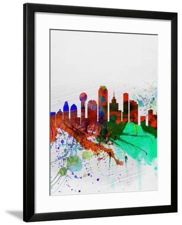 Dallas Watercolor Skyline-NaxArt-Framed Art Print