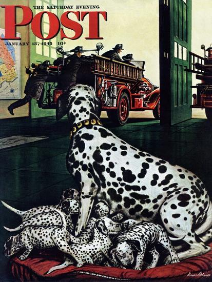 """""""Dalmatian and Pups,"""" Saturday Evening Post Cover, January 13, 1945-Stevan Dohanos-Giclee Print"""