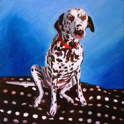 Dalmatian on Spotty Cushion, 2011-Helen White-Giclee Print