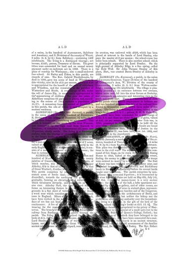 Dalmatian With Purple Wide Brimmed Hat-Fab Funky-Art Print