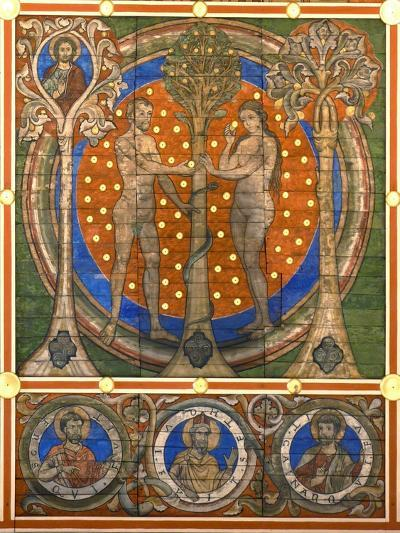 Dam and Eve. Detail of the Painted Wooden Ceiling of the St. Michael's Church, Hildesheim, Ca 1230--Giclee Print