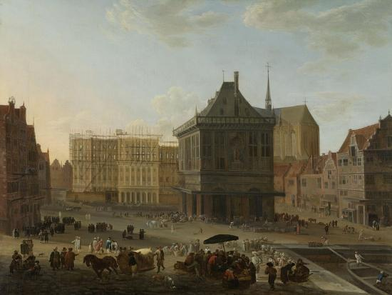 Dam in Amsterdam with the New Town Hall under Construction-Jacob van der Ulft-Art Print