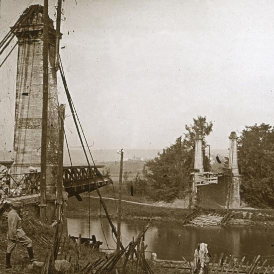 Damaged bridge, Dormans, northern France, c1914-c1918-Unknown-Photographic Print