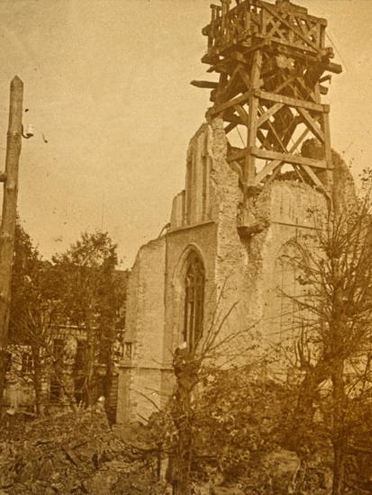 Damaged church, c1914-c1918-Unknown-Photographic Print