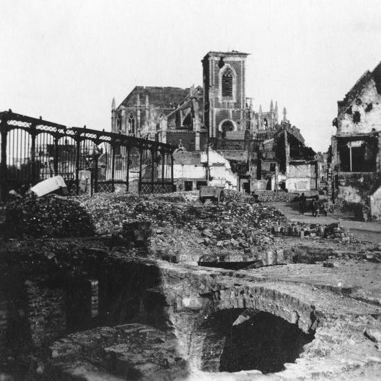 Damaged Exterior of the Church of St Vaast, Armentières, France, World War I, C1914-C1918- Nightingale & Co-Giclee Print