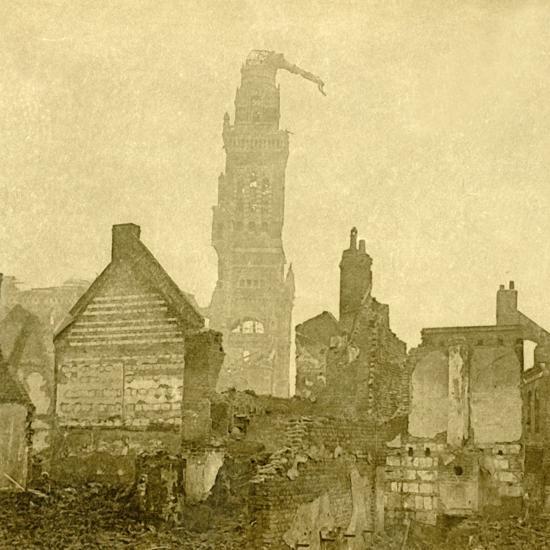 Damaged spire of Notre-Dame de Brebières, Albert, northern France, c1915-c1918-Unknown-Photographic Print