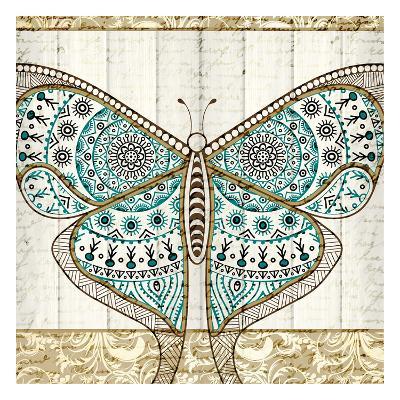 Damask Butterfly Teal 1-Kimberly Allen-Art Print