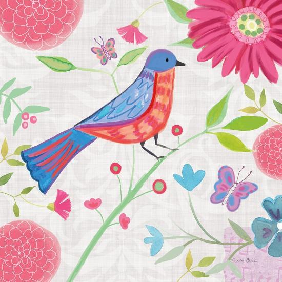 Damask Floral and Bird II-Farida Zaman-Art Print
