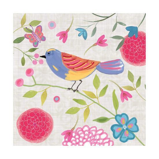 Damask Floral and Bird III-Farida Zaman-Art Print
