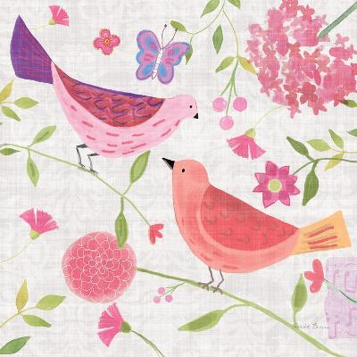 Damask Floral and Bird IV v2-Farida Zaman-Art Print