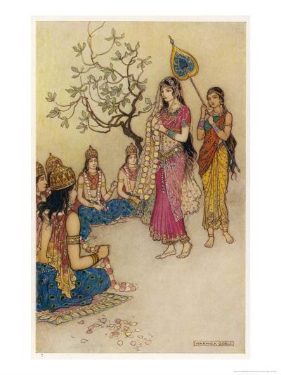 Damayanti Daughter of Bhima King of Vidarbha Chooses Prince Nala as Her Husband-Warwick Goble-Giclee Print