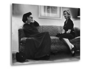 Dame Edith Sitwell Talking W. Actress Marilyn Monroe