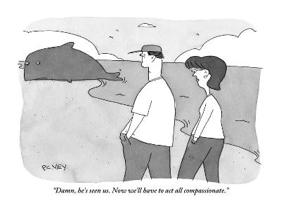 """Damn, he's seen us. Now we'll have to act all compassionate."" - New Yorker Cartoon-Peter C. Vey-Premium Giclee Print"