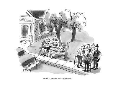 """Damn it, Wilbur, that's our bench!"" - New Yorker Cartoon-Barney Tobey-Premium Giclee Print"