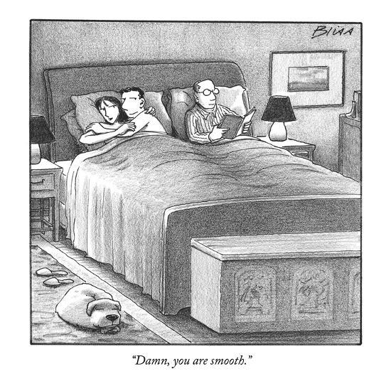 """""""Damn, you are smooth."""" - New Yorker Cartoon-Harry Bliss-Premium Giclee Print"""