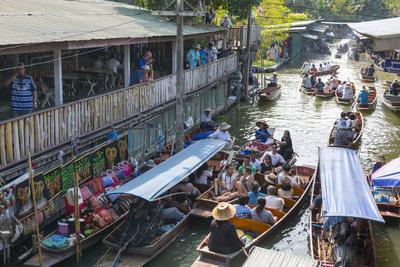 Damnoen Saduak Floating Markets, Bangkok, Thailand, Southeast Asia, Asia-Frank Fell-Photographic Print