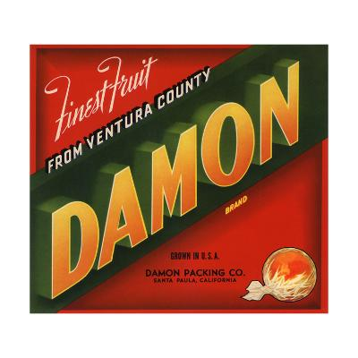 Damon Brand - Santa Paula, California - Citrus Crate Label-Lantern Press-Art Print