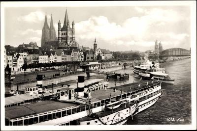 Dampfer Schiller Auf Dem Rhein, Köln, Kirche--Giclee Print