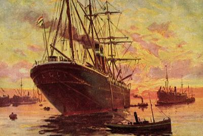 Dampfschiffe Im Hafen, Schleppboote, Dämmerung--Giclee Print