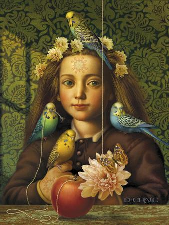 Girl with Parakeets