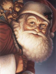 Santa Close-Up with a Sack of Toys on His Back by Dan Craig