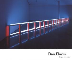 An Artificial Barrier Blue, Red and Blue Fluorescent Light (to Flavin Starbuck Judd) by Dan Flavin