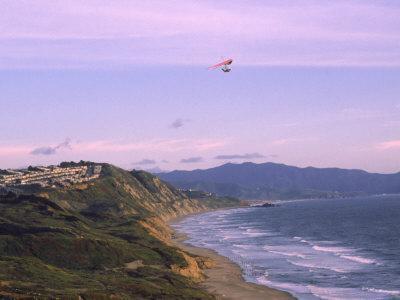 Hang Gliding Over Ocean, Marin County, CA