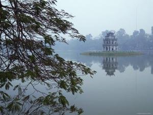 Pagoda in Centre of Ho Hoan Kiem Lake by Dan Gair