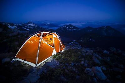 Four Season Tent Set Up with Christmas Lights in Mount Rainier National Park, Washington