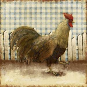 Rooster on Damask I by Dan Meneely