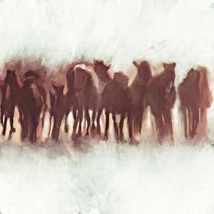 Team of Brown Horses Running by Dan Meneely