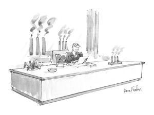 A business man sits at a :desk,. smokestacks visible out the rear window, ? - New Yorker Cartoon by Dana Fradon