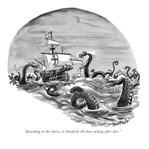 """""""According to the charts, it should be all clear sailing after this."""" - New Yorker Cartoon by Dana Fradon"""