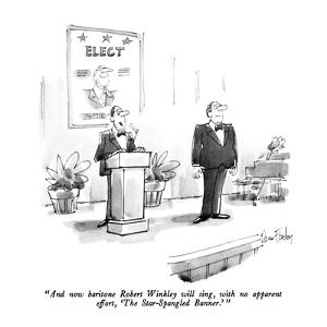 """""""And now baritone Robert Winkley will sing, with no apparent effort, 'The ?"""" - New Yorker Cartoon by Dana Fradon"""